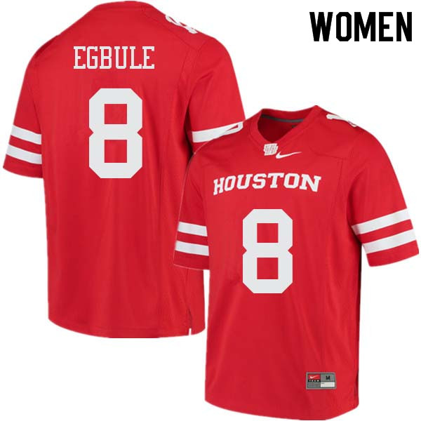 Women #8 Emeke Egbule Houston Cougars College Football Jerseys Sale-Red